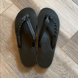 Rainbow black flip flops w/braid size M